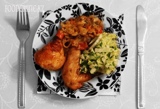 Курица с салатом